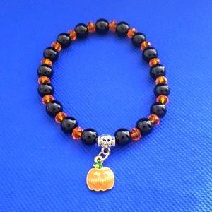 NWT Handmade Pumpkin charm bracelet Halloween